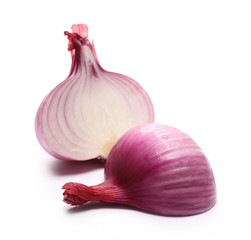 Fresh red onion bulb sliced in half isolated on white background