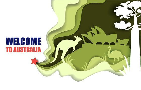 Welcome to Australia poster, vector paper cut illustration