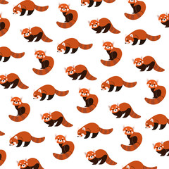 Cartoon happy red panda - simple trendy pattern with animals. Flat vector illustration for prints, clothing, packaging and postcards.