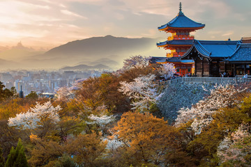 Wall Murals Place of worship Japanese temple at sunset