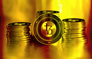 Tezos (XTZ) digital crypto currency. Stack of black and golden coins. Cyber money.