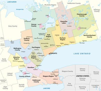 Map of the Golden Horseshoe metropolitan area around the western end of Lake Ontario, Ontario, Canada