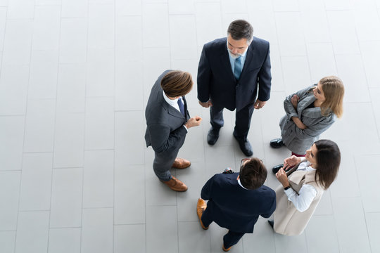 Top view of business people. Business meeting and teamwork.