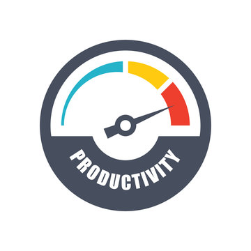 Increase productivity concept with tachometer and text productivity