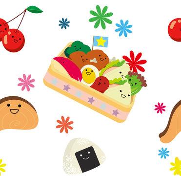お弁当キャラクターのシームレスパターン