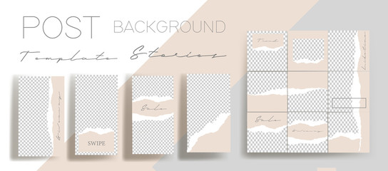 Design backgrounds for social media banner. Set of instagram stories and post frame templates.Vector cover. Mock up for personal blog or shop.Layout for promotion.Endless square puzzle layout Fototapete
