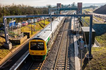 electrified line railway station rural warwickshire england uk