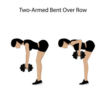 Two armed bent over row exercise