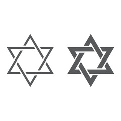Star of David line and glyph icon, israel and jewish, hexagram sign, vector graphics, a linear pattern on a white background.