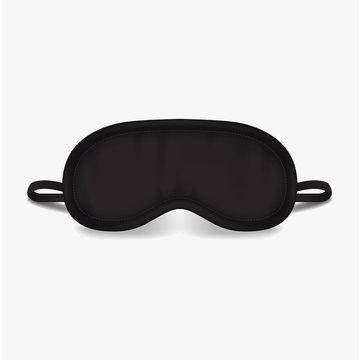 Eye sleep mask. Vector mock up illustration. Black sleep accessory object. Eye protection for rest night travel, blindfold