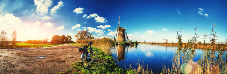 Traditional dutch windmills at sunny day, Netherlands