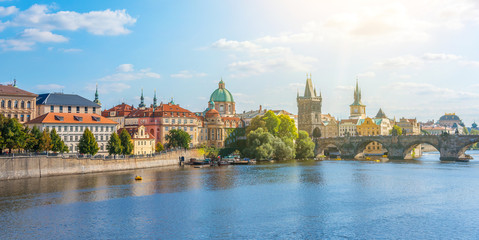View of the city of Prague and the Vltava River on a sunny day. Prague, Czech Republic.