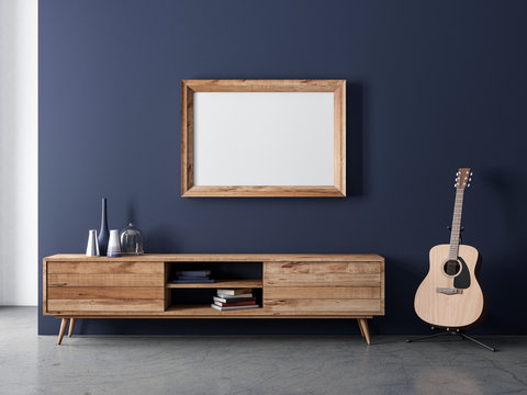 Wooden horizontal Frame poster Mockup hanging on dark blue wall