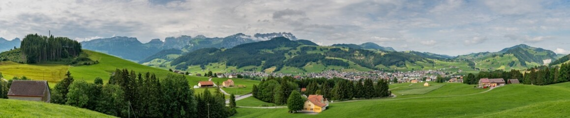 Switzerland, panoramic view on Appenzell village with Santis