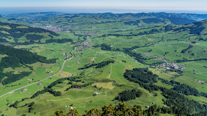 Switzerland, panoramic view on Appenzell and Weissbad village