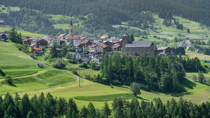 Switzerland, panoramic view on Mon village