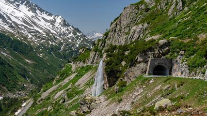 Switzerland, Sustenpass beautiful panoramic view, Obertalbachbrücke.