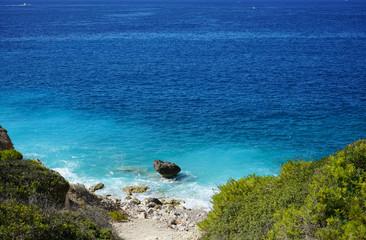 Palma de Mallopca stone coast and turquoise water