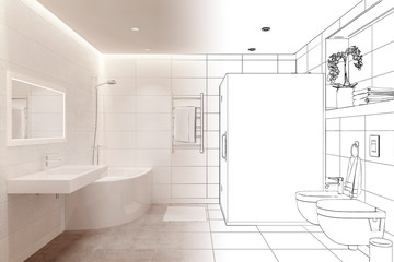 3d illustration. Drawing sketch of white shower room turns into a real interior