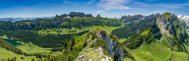 Aluminium Prints Panorama Photos Switzerland, Appenzell, panorama view of Alpstein mountains