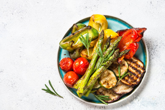 Grilled vegetables - zucchini, paprika, eggplant, asparagus and tomatoes.