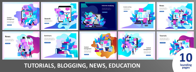 Concept Landing page template Education people, Internet studying, online training, online book, tutorials, e-learning for social media, distance education, documents, cards, posters Wall mural