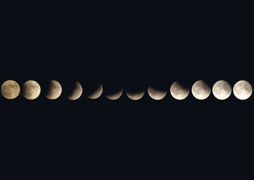 all the stages of the lunar eclipse of 16-07-2019 from 9:00 pm to 00:30 am