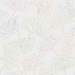 Vector Ginkgo Leaves in Earthy Gold Green Brown Gray Seamless Repeat Pattern