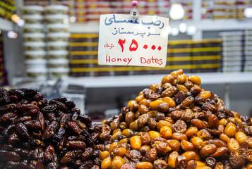 Honey dates are displayed in a shop in Tajrish Bazaar in Tehran