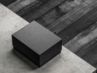 Black textured cardboard box mockup on concrete floor