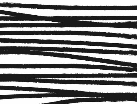 Horizontal monochrome grunge background with curved stripes drawn by a rough brush. Sketch, paint, watercolor. Simple vector illustration.
