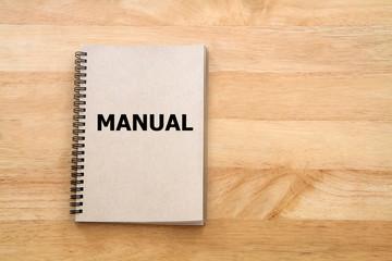 User manual or Instruction manual book on wooden desk