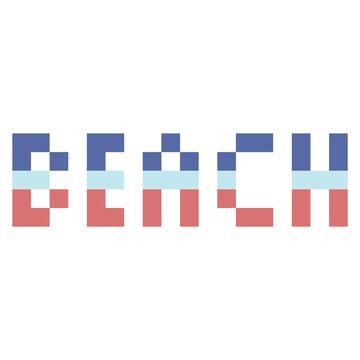 Cute 8 bit beach typography. Pixel nautical clip art.