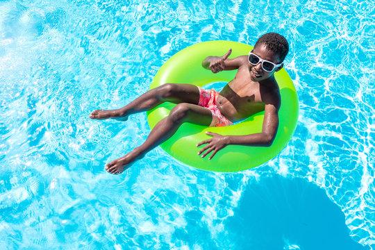 black child in the pool