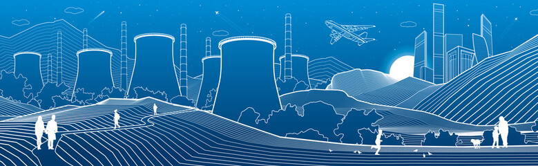 Outline industry illustration panoramic. Night city scene. People walking at garden. Power Plant in mountains. White lines on blue background. Vector design art
