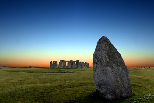 Stonehenge an ancient prehistoric stone monument from Bronze and Neolithic ages, constructed as a ring near Salisbury with dramatic sky, Wiltshire in England, United Kingdom