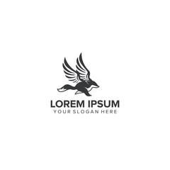 business logo with modern animal on black - vector