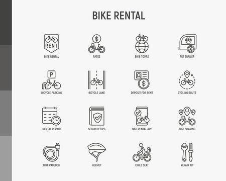 Bike rental thin line icons set: rates, bicycle tours, pet trailer, padlock, helmet, child seat, sharing, pointer, deposit, mobile app, cycling route. Modern vector illustration.