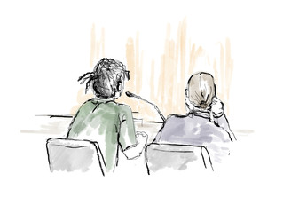 A courtroom sketch shows Rakim Athelaston Mayers alias ASAP Rocky (in green shirt) and to the right his defence lawyer Slobodan Jovicic, at the district court in Stockholm