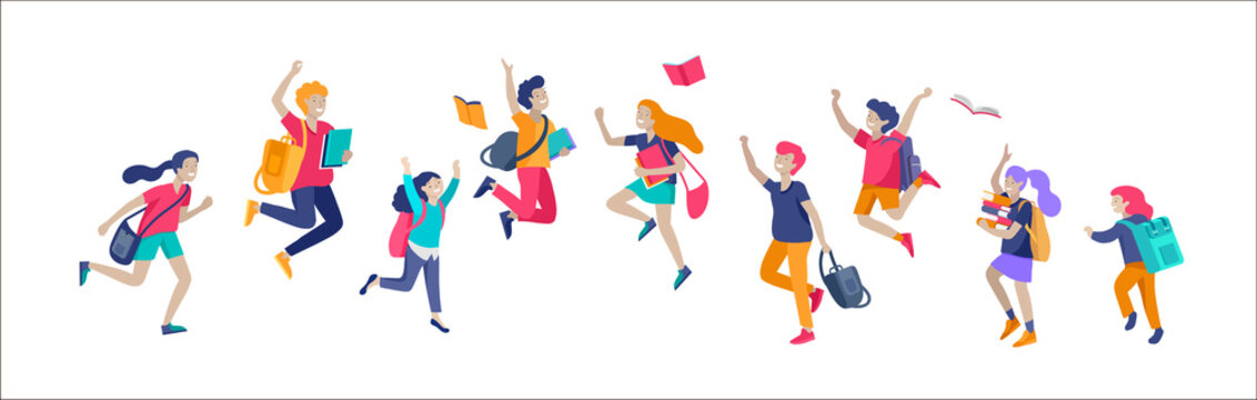 Happy school children joyfully jumping and laughing isolated on white background. Concept of happiness, gladness and fun. Vector illustration for banner, poster, website