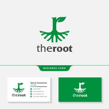 The roots letter R logo design template premium vector