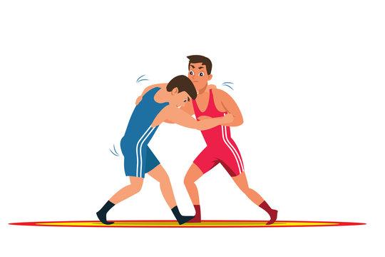 Greco roman wrestling flat vector illustration