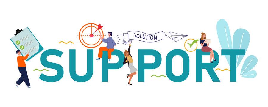 support team bring solution teamwork on client problem. Large text concept businessman illustration.