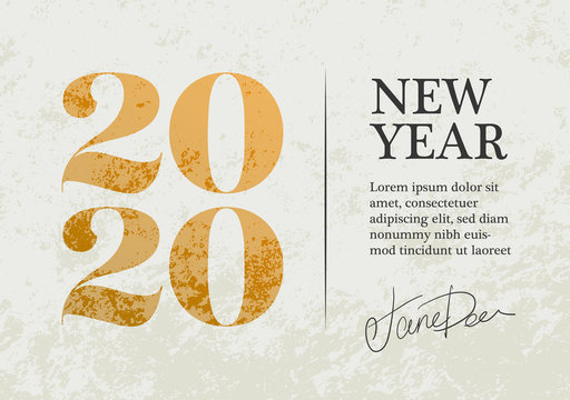 New Year 2020 Greeting Card Design. Gold 2020 Christmas Eve Card Vector Design Template.