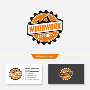 woodwork carpentry logo design template vector
