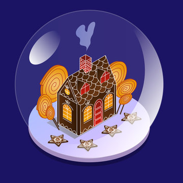 Snow glass ball in isometric view. Gingerbread house with large candies inside a glass bowl. Christmas present for children.