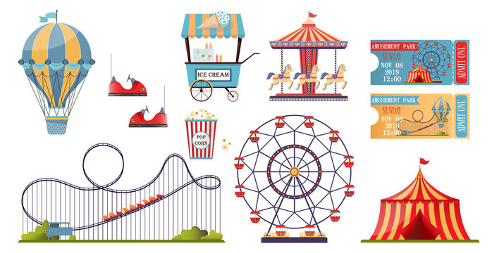Amusement park vector set with flat elements isolated on white background.