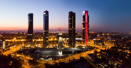 Night view of the four towers (Cuatro Torres) of the business district in Madrid. Spain