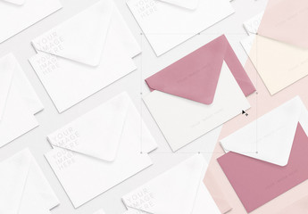 Array of Notecards and Envelopes Mockup