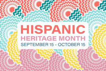 Hispanic Heritage Month September 15 - October 15. Background, poster, greeting card, banner design.  Fotomurales